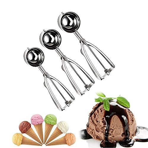 ESKONI Cookie Scoop Set, Ice Cream Scoop Set, 3 PCS 18/8 Stainless Steel Ice Cream Scoop Trigger Include Large-Medium-Small Size, Melon Scoop