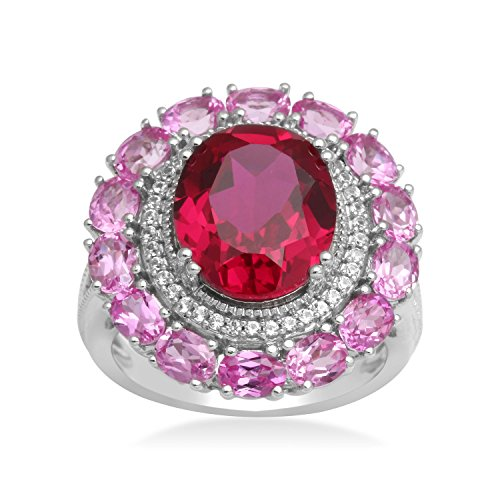 Jewelili Sterling Silver 12x10mm Oval Created Ruby Framed with 1mm Round Created White Sapphire and 4x3mm Oval Pink Sapphire Halo Ring, Size 7