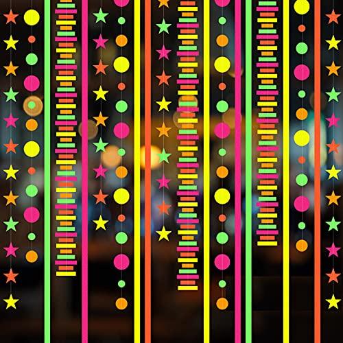 RUIYELE - Ghirlanda di carta fluorescente da 100 m, con luce UV reattiva che si illumina al buio, per feste di compleanno con stelle al neon a pois rotondi, ghirlanda per matrimonio fluorescente