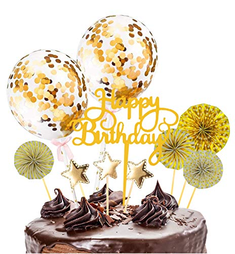 Xinmeng Oro Decoración para Tartas Torta Toppers de Cumpleaños Cumpleaños Cupcake Toppers Abanicos de Papel Globos Confeti Cupcake Topper para Oro Tema Partido Tartas de Decoración.