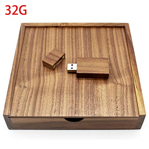 Losenlli Caja de álbum de Fotos de Madera de Nogal Memoria USB de 32 GB Dispositivo de Almacenamiento de Boda USB 2.0 Memory Stick