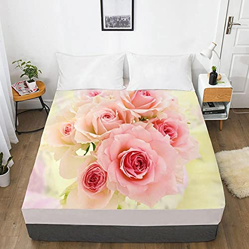 Sábana Bajera Ajustable 3D, Individual Personalizada, tamaño Queen, Funda de colchón con sábana elástica, Ropa de Cama de, Rosa para bodaCustom Size