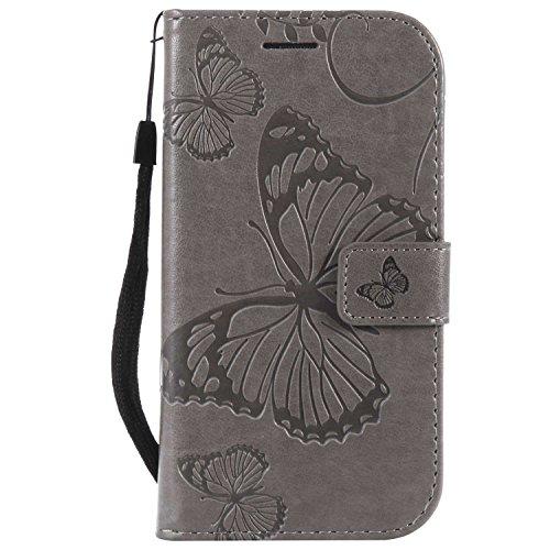 DENDICO Cover Galaxy S3, Pelle Portafoglio Custodia per Samsung Galaxy S3 Custodia a Libro con Funzione di appoggio e Porta Carte di cRossoito - Grigio