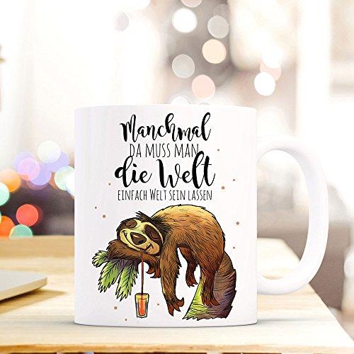 ilka parey wandtattoo-welt® Becher Tasse Kaffeetasse Kaffeebecher Faultier mit Spruch .die Welt einfach mal Welt Sein Lassen. ts421