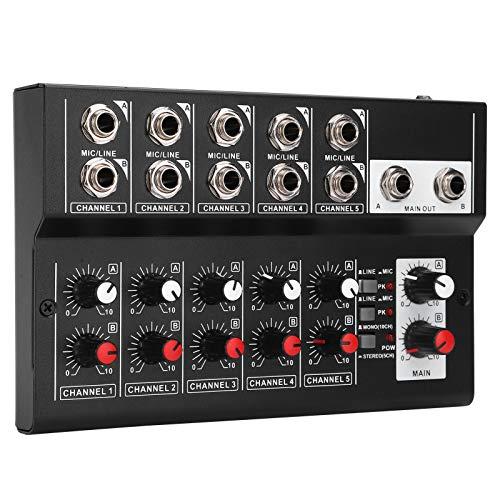 Stereo-Audio-Mixer, Mischpult, Audio-Mixer, tragbarer 5-V-Multifunktions-Mini-Mini-Legierung für Soundeffekt mit rutschfestem Pad EU Plug Audio
