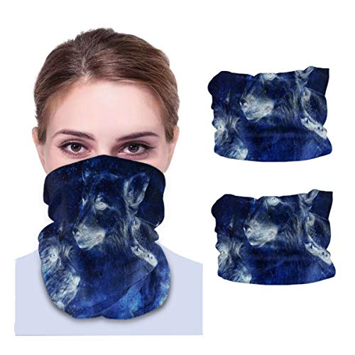 SLHFPX Stars in Space Spell Dogs Neck Gaiter Face Mask Set of 2 Bandana Anti-Dust Marks Windproof Neck Warmer for Outdoor Sports