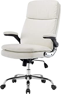 KERMS High Back Bonded Leather Executive Office Chair, Adjustable Recline  Locking Flip Up Arms