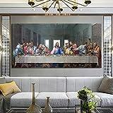 KWzEQ Cartel de la última Cena del Famoso Pintor y Mural sobre Lienzo,Pintura sin Marco,60x120cm