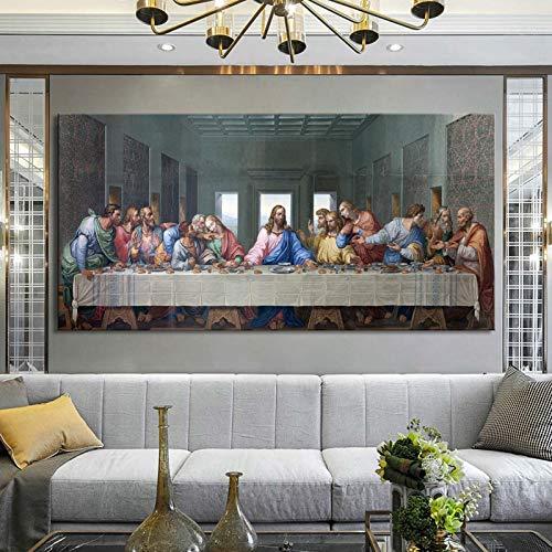KWzEQ Das letzte Abendbrotplakat und Wandbild des berühmten Malers auf Leinwand,Rahmenlose Malerei,45x90cm
