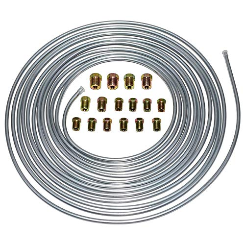 A-Team Performance 3/16'' Double Walled Galvanized Steel Tube Roll Brake Line Kit With 16 Piece Fittings For Hydraulic Braking Systems, Fuel Systems, And Transmission Systems 25 Feet