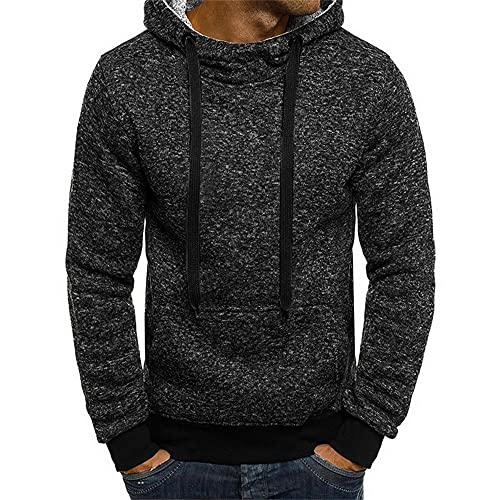ZYSK Herren Kapuzenpullover Schneegesponnener Stoff Moderner Hoodie-Sweatshirt-Pulli Langarm Herren Einfarbig Pullover-Shirt mit Kapuze