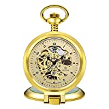 Men's Casual Pocket Watch Hollow Dial Silver Mechanical Men's Watch Link Watch Pendant Pocket Watch Necklace Pocket Watch Wall Clock Gift Gift Gold