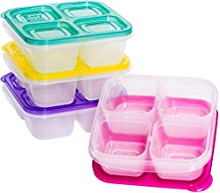 EasyLunchboxes Snack Box Food Containers, 4-Compartment, Set of 4, Brights