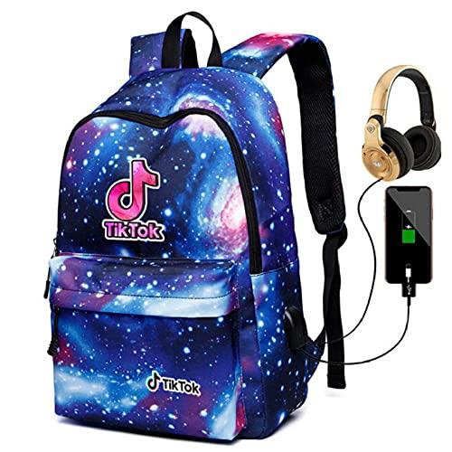 Tiktok Shake Record Hermosa Vida Bolsa de Hombro Galaxy Mochila Hombres Y Mujeres Bolso Estudiante USB Carga + Auriculares-Color3
