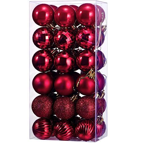 36 Piezas de Adornos de Bolas de Navidad Bolas de Árbol de Decoraciones Navideñas Inastillables para Adornos de Árbol Fiestas Bodas Ganchos de Decoración 1,57 Pulgadas (Rojo Rosa)