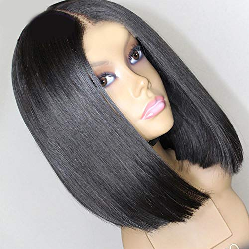 Zwarte bobo-kop met kort steil haar, 40 cm, natuurlijk levensecht haar, hoge temperatuur zijde met chemische vezels, damespruik voor dagelijks gebruik en feest, feest