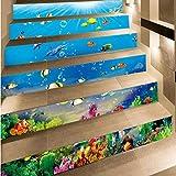 ZTMN Etiqueta engomada de la Escalera del azulejo de los Animales Marinos Impresión 3D Papel Pintado Impermeable extraíble Decoración Decoraciones para el hogar 6pcs / Set