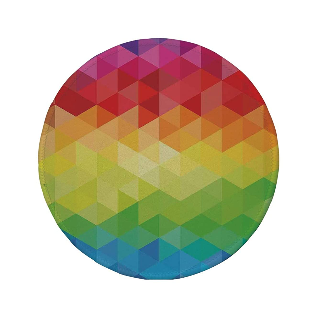 Non-Slip Rubber Round Mouse Pad,Colorful Home Decor,Geometrical Polygonal Diamond Forms with Triangle Mirroring Lines Artwork,Multi,11.8