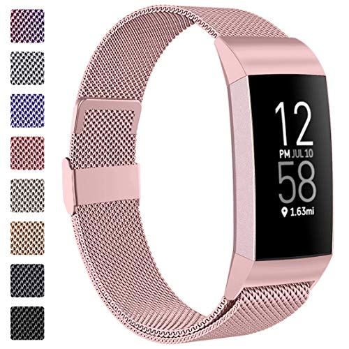 ZWGKKYGYH Compatible with Fitbit Charge 4 and Fitbit Charge 3 Bands for Women Men, Rose Gold Stainless Steel Mesh Magnetic Metal Band Replacement Accessories Bracelet Strap for Women Men, Small