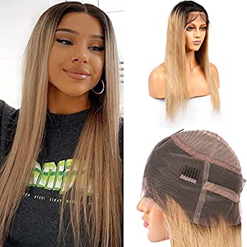 Aprilhair Pre-plucked Ombre #1B/27 Dark Root Honey Blonde 360 Lace Frontal Wigs Straight Glueless 150% Density Brazilian Virgin Human Hair With Baby Hair Full And Thick  14 Inch