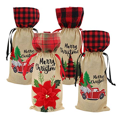 Set di 4 copribottiglie di vino di Natale, con coulisse, per bottiglie di vino, borsa regalo per Natale, capodanno, matrimonio, compleanno, festa, decorazione natalizia (auto)