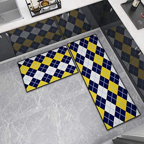 OPLJ Küchenmatte Anti-Rutsch-Türmatte Modernes Wohnzimmer Balkon Badezimmer Geometrisch bedruckter Teppich Waschbare Fußmatte A16 50x160cm