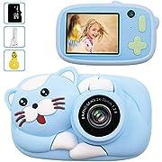 Kinderkamera - 16GB Digitalkamera für Kinder Katze Tiere 4400 Fotos Selfie Photo 1080P HD Videofunktion Mini Kamera 2.4 Zoll Farbdisplay(Blau) …