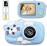 LeaderPro Cámara para Niños,Digitale Selfie para Niños,Video cámara Infantil con Pantalla de 2.4Pulgadas,HD 2600 MP/1080P Doble Objetivo,a Prueba de Golpes,Carcasa de Silicona (Azul)