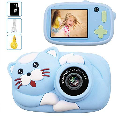 LeaderPro Fotocamera Bambini 8 Milione Pixel 1080P HD Funzione Video, 2.0'Schermo Funzione Selfie, Mini Ricaricabile Fotocamera Digitale Bambini,Impermeabile,con 16G TF Carta, Regali per Bambini(Blu)