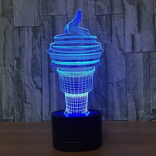 DFDLNL Luces de Noche de Helado 3D Lámpara de visión estéreo LED Lámpara de atmósfera USB Cambiando para Decoraciones de habitación Luces