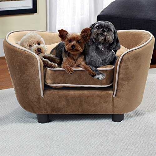 INMOZATA Pet Sofa Couch 70x48x40cm Dog Bed Soft Sponge Cushion Cat Lounge for Small to Large Puppy Cat Kittens Indoor Outdoor (Brown)