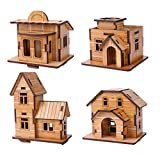 ZOSEN 3D Wooden Puzzle - Mini Bamboo wood House Model - EducationalToys 3D Puzzle Gift for Children (4 pieces)