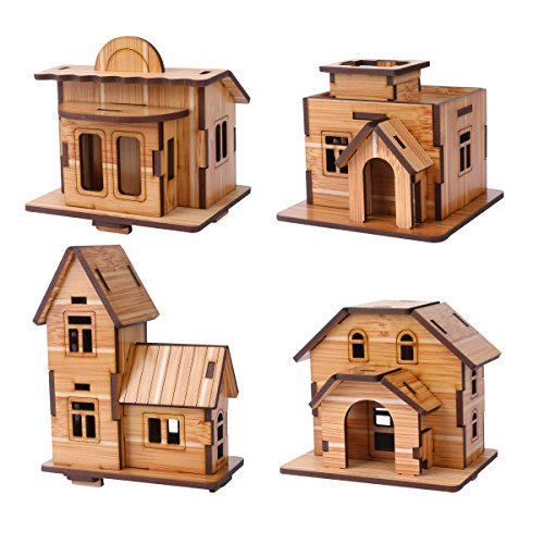 ZOSEN 3D Puzzle in legno - Modello Mini Casa - Giocattoli Educativi 3D Regalo di Puzzle per Bambini (4 Pezzi di Puzzle House 3D)