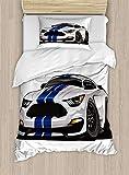 Boy 's habitación juego de funda nórdica por lunarable, moderno American Muscle Race Rally coche en elegante Fancy disco fórmula Print, decorativo juego de cama con fundas de almohada, gris Negro Azul