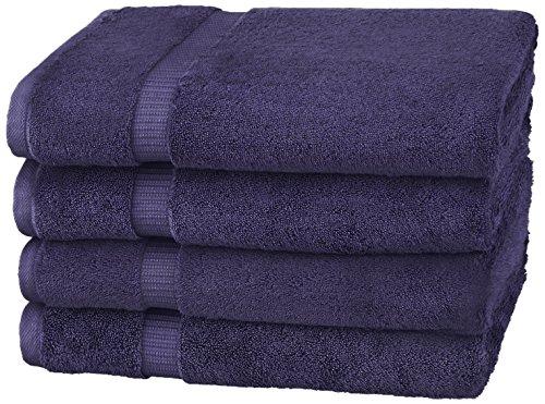 Amazon Brand – Pinzon Organic Cotton Bath Towel, Set of 4, Navy Blue