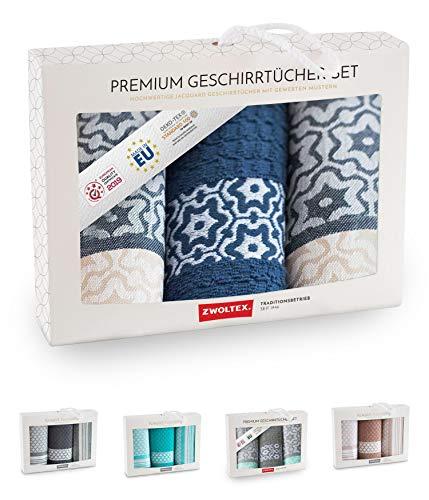 ZWOLTEX Paños de cocina de alta calidad de algodón 100 %, fabricados en la UE, con certificación Oeko-Tex 100, juego de regalo, 2 paños de cocina y 1 toalla Marsala azul