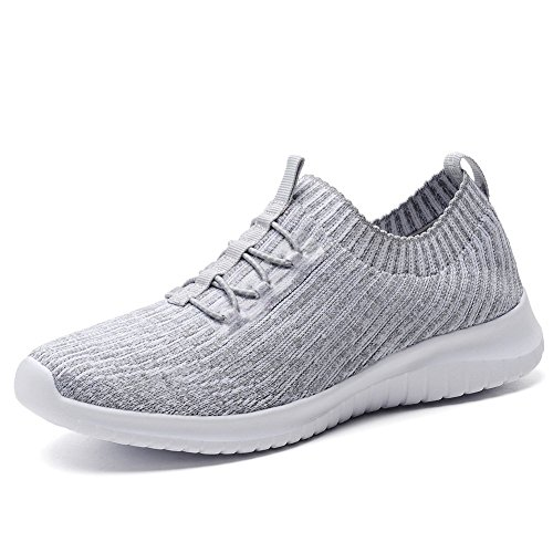 TIOSEBON Women's Lightweight Casual Walking Athletic Shoes Breathable Running Slip-On Sneakers 6 US Gray