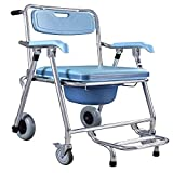XININ Lightweight Wheelchair, Foldable Wheelchair,Shower Bedside Commode Chair Padded Seat Commode Toilet Rolling Multiple Function Shower Chair with Backrest and Armrests