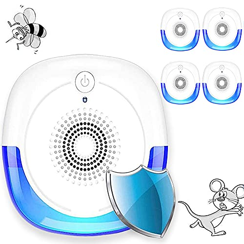 Maryan Repelente ultrasónico de plagas, 4 Paquetes, Enchufe de Control de Repelente de plagas, Insecto de Control de plagas de Interior para Mosquitos, cucarachas, Ratones, Insectos, pulgas, arañas