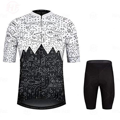 LLYY Maillots de Ciclismo Hombres Camiseta y Pantalones Cortos,Conjunto de Jersey de...