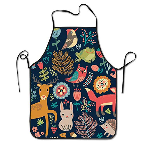 NVJUI JUFOPL Cooking Kitchen Baking Gardening Haircut Cute Apron Gift Funny Bib Aprons for Women Men Chef  Forest Animals Birds and Trees