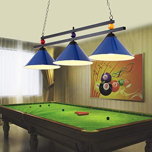 Metallkugel Design Billardtisch Billard Lampe für Spielzimmer Bier Party, Industrieller Kronleuchter mit 3 Lampenschirmen, Geeignet für Billardtische oder Kücheninsel, Shadowless (Farbe : Blau)
