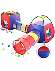 4 in 1 Pop Up Play Tent with Tunnel, Kids Playhouse, Ball Pit for Kids, Boys, Girls, Babies and Toddlers as Gift, Easy Folding with Storage Bag, Indoor/Outdoor Leambe