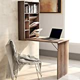 Danxee Fold Out Convertible Wall Mounted Table Home Office Fold Out Desk with Storage Fold-Out Convertible Desk (Oak)