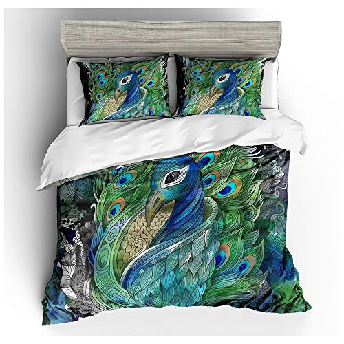 HOXMOMA Animal Theme Duvet Cover 3D Printed Peacock Bedding Set, Decorative Comforter Cover with 2 Pillowcases, Microfiber Summer Quilt Cover Set for Kids and Adults,Green,US Twin