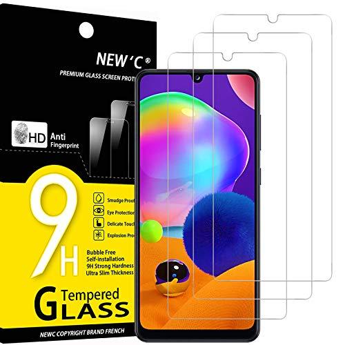NEW'C 3 Unidades, Protector de Pantalla para Samsung Galaxy A31, Antiarañazos, Antihuellas, Sin Burbujas, Dureza 9H, 0.33 mm Ultra Transparente, Vidrio Templado Ultra Resistente