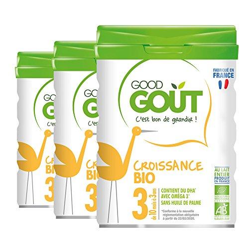 Good Gout - BIO - Lait de Croissance 3eme age de 10 Mois à 3 ans 800 g - Lot de 3