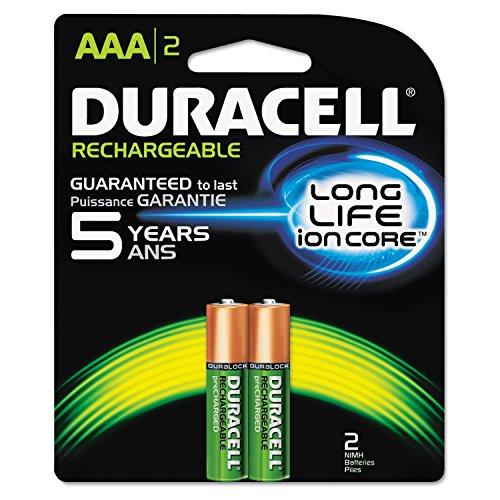 Duracell NLAAA2BCD Rechargeable NiMH Batteries, AAA, 2/PK