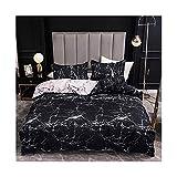 YNX MLKCL - Juego de ropa de cama de mármol, suave, cama doble, funda de edredón y funda de almohada (color: mármol, tamaño: 3 piezas de 135 x 200 cm)