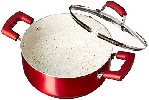IMUSA USA 4,9 qt Ruby Red Antihaft-Dutch Oven mit Glasdeckel und Soft-Touch-Griffen